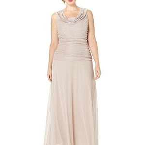 R&M Richards Maxi Gown Draped Cowl Neck Blush 22W